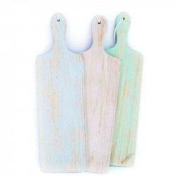 Blue, green and pink cutting or serving boards