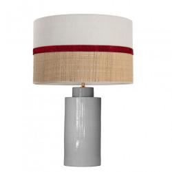 1728 - Lamp and Sack, Velvet and Raffia Shade (58.5cm height) Gold base flat design.