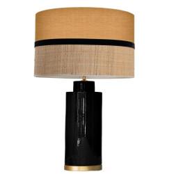 1727 - Gold base lamp / Sack, Velvet and Raffia Shade (67cm height) Gold base flat design.