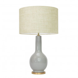 1763 - Lamp with a golden base and Linen Shade (66cm height)